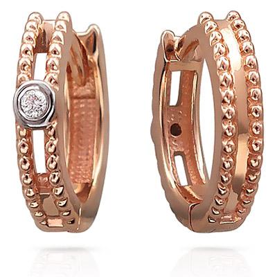 Серьги - кольца с бриллиантом