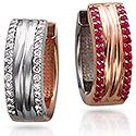 Серьги - кольца с бриллиантами и рубинами