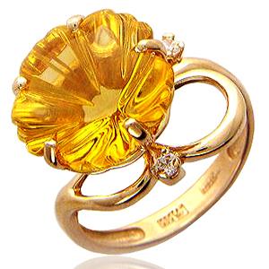 Кольцо с полудрагоценными камнями.