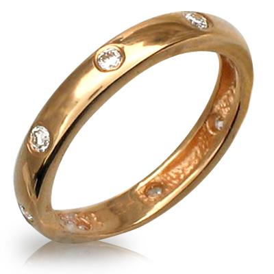 Обручальное кольцо с  восемью бриллиантами по всему диаметру