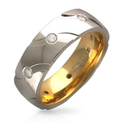 Обручальное кольцо с  бриллиантами по кругу