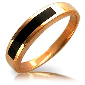 7SE01Т411652Мужское. кольцо с полосой из черного оникса из красного золота 585 пробы